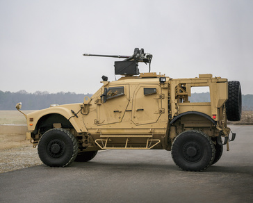 Oshkosh M-ATV fitted with Orbital ATK's M230 LF 30mm lightweight automatic chain gun mounted on EOS R400S-MK2 remote weapon station.
