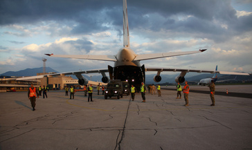 The Antonov 124 is the world's second heaviest aircraft able to deliver 150 tons of equipment. (Photo: EUFOR)