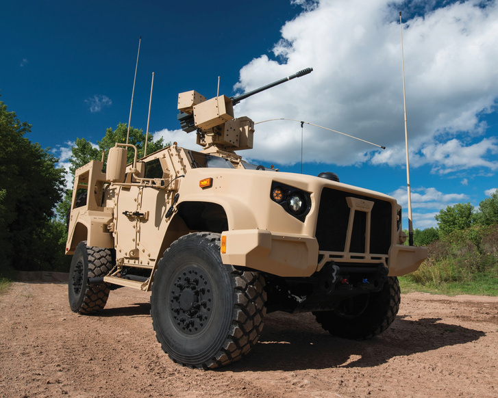 The Oshkosh L-ATV fitted with Orbital ATK M230 LF 30mm. (Photo: https://oshkoshdefense.com/photo-gallery/?category=Vehicles, CC BY-SA 4.0)